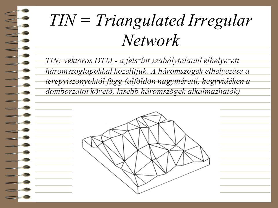 TIN = Triangulated Irregular Network TIN: vektoros DTM - a felszínt szabálytalanul elhelyezett háromszöglapokkal közelítjük. A háromszögek elhelyezése