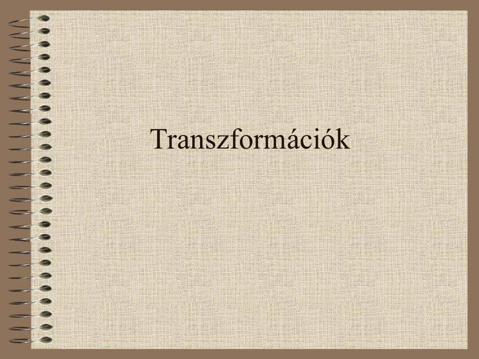 Transzformációk általában Vetületi rendszerek közötti átszámítás általában az egyes rendszerek egyenletei alapján történik.