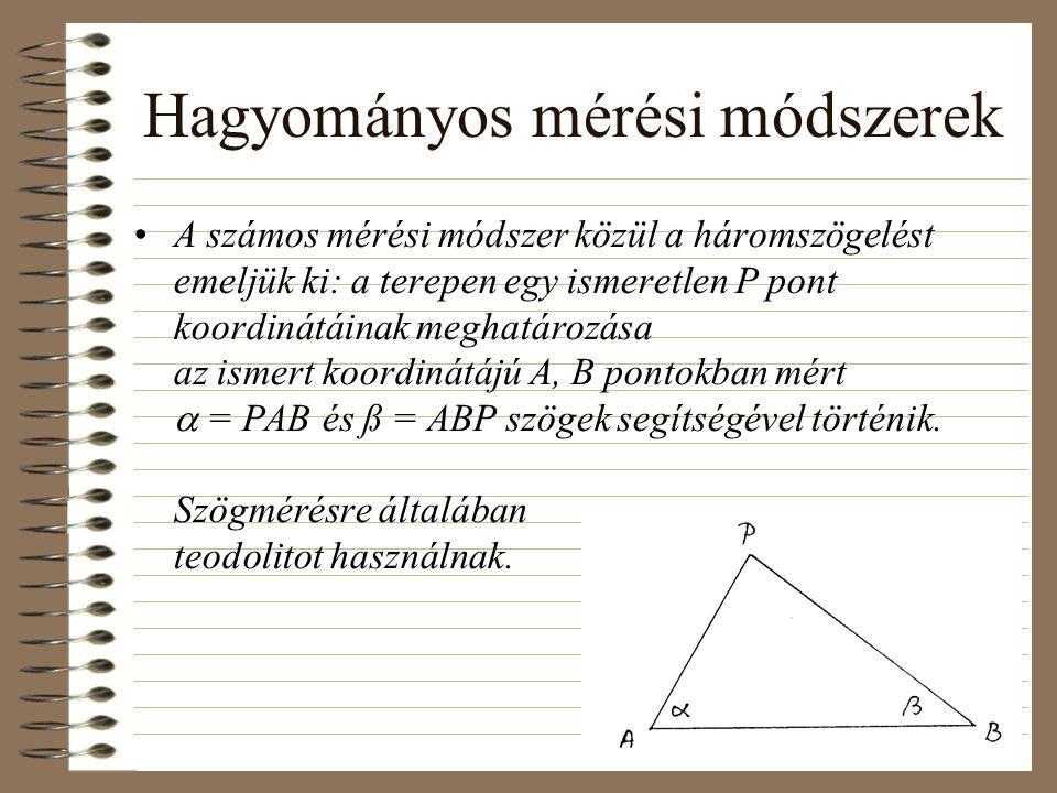 Hagyományos mérési módszerek A számos mérési módszer közül a háromszögelést emeljük ki: a terepen egy ismeretlen P pont koordinátáinak meghatározása a