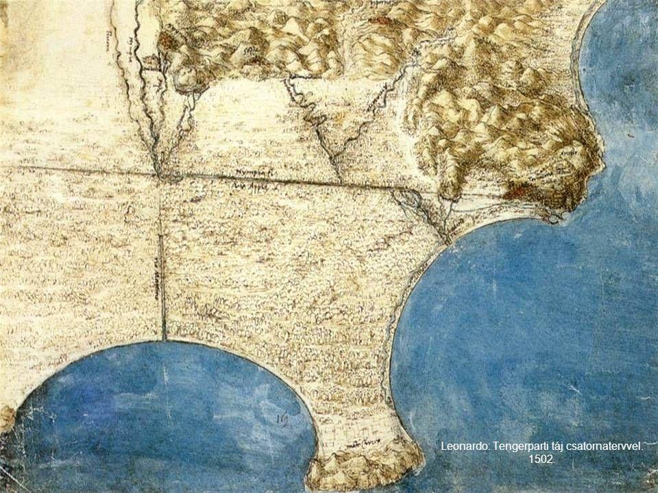 Leonardo: Tengerparti táj csatornatervvel. 1502.