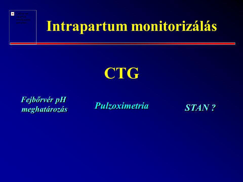 Intrapartum monitorizálás CTG STAN ? Fejbőrvér pH meghatározás Pulzoximetria
