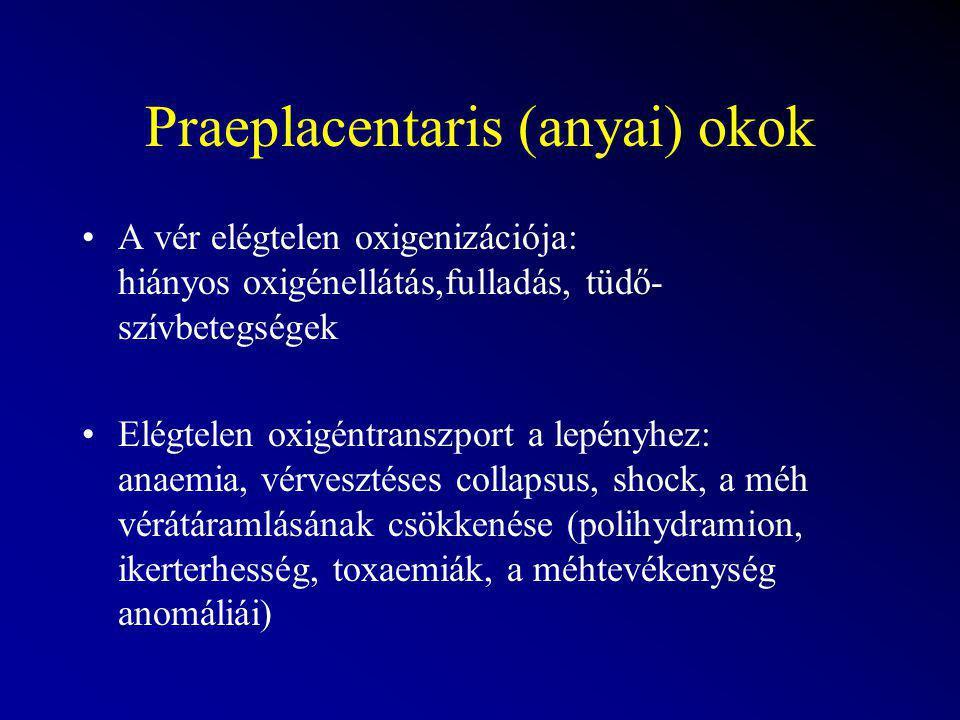 Placentaris okok Érelzáródások: infarktusok (gestosis, túlhordás) Az erek fokozott ellenállása: polihydramion ikerterhesség A placentaris membrán változásai: gestosis, túlhordás A lepény egy része kiiktatódik a keringésből: placenta praevia, abruptio placentae