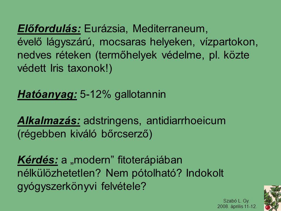 Szabó L. Gy. 2008. április 11-12. Előfordulás: Eurázsia, Mediterraneum, évelő lágyszárú, mocsaras helyeken, vízpartokon, nedves réteken (termőhelyek v