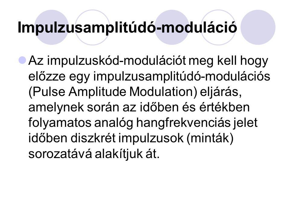 Impulzusamplitúdó-moduláció Az impulzuskód-modulációt meg kell hogy előzze egy impulzusamplitúdó-modulációs (Pulse Amplitude Modulation) eljárás, amel