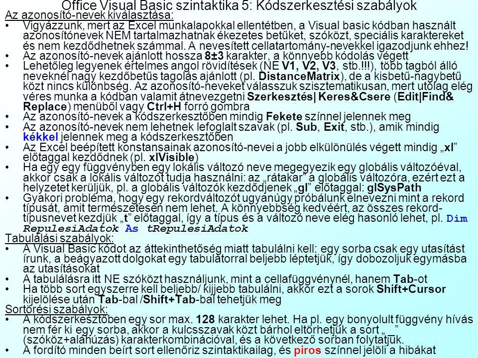 Office Visual Basic szintaktika 4: Felhasználói függvények és eljárások Felhasználó által definiált függvények (User Defined Function) szintaxisa: Füg
