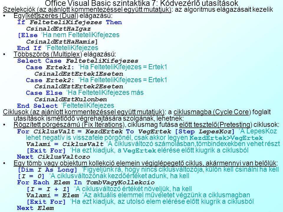 Az előadás tartalma Excel makrók Office Visual Basicben 1 Miért van rá szükség? Cellaképlet-alapú és procedurális algoritmus leírás összehasonlítása E