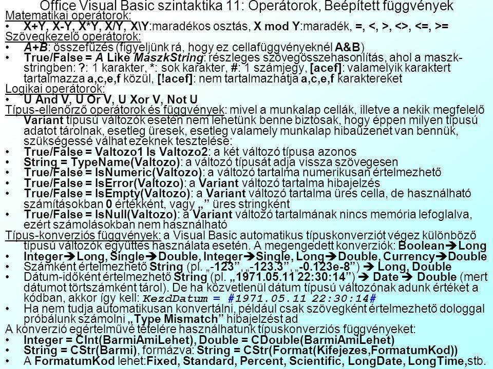 Office Visual Basic szintaktika 10: Hibakezelési módszerek B, Újhullámos microfostos kifogás kezelő-alapú (Exception Handler Based) hibakezelés: nem e