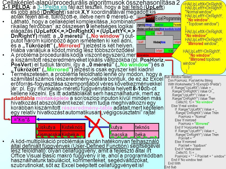 """Cellaképlet-alapú/procedurális algoritmusok összehasonlítása 2 3-1.PÉLDA: a 3-1Pelda.xls fájl azt teszteli, hogy a bal felső (UpLeft) és jobb alsó (DnRight) sarok X,Y koordinátáival megadott kis ablak fejen áll-e, tükrözött-e, illetve nem 0 méretű-e:3-1Pelda.xls Látható, hogy a cellaképlet komplexitása """"kombinato- rikailag felrobban az összesen 9 lehetséges logikai elágazás (UpLeftX DnRightX) × (UpLeftY DnRightY) miatt: a """"0 méretű (""""No window ) out- putot három különböző ágon ismételten ki kell adni, és a """"Tükrözött (""""Mirrored ) jelzést is két helyen."""