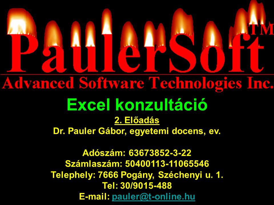 Excel konzultáció 2.Előadás Dr. Pauler Gábor, egyetemi docens, ev.