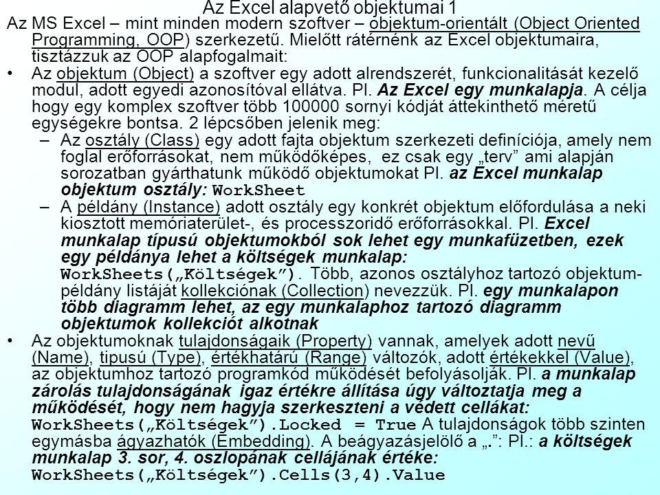 Az előadás tartalma Az Excel alapvető objektumai OOP alapfogalmak Az Excel objektum hierarchiája vázlatosan Az alkalmazás beállításai Munkalapok és formázásuk Oldalbeállítások Cellastílusok Cellazárolás és munkalap védelem Cellák formázása Input cellaformázások Stílus- és számformázások Értékhatáros validáció, figyelmeztetés, hibaüzenet, súgó megjegyzésben Értéklistás validáció vs.