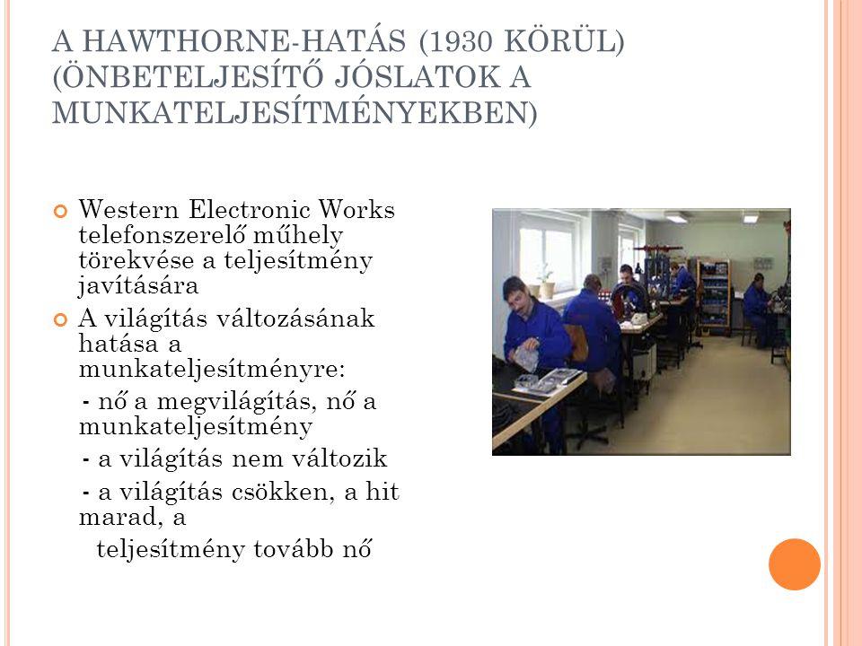 A HAWTHORNE-HATÁS (1930 KÖRÜL) (ÖNBETELJESÍTŐ JÓSLATOK A MUNKATELJESÍTMÉNYEKBEN) Western Electronic Works telefonszerelő műhely törekvése a teljesítmény javítására A világítás változásának hatása a munkateljesítményre: - nő a megvilágítás, nő a munkateljesítmény - a világítás nem változik - a világítás csökken, a hit marad, a teljesítmény tovább nő