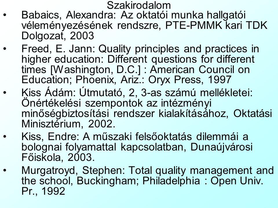 Szakirodalom Babaics, Alexandra: Az oktatói munka hallgatói véleményezésének rendszre, PTE-PMMK kari TDK Dolgozat, 2003 Freed, E. Jann: Quality princi
