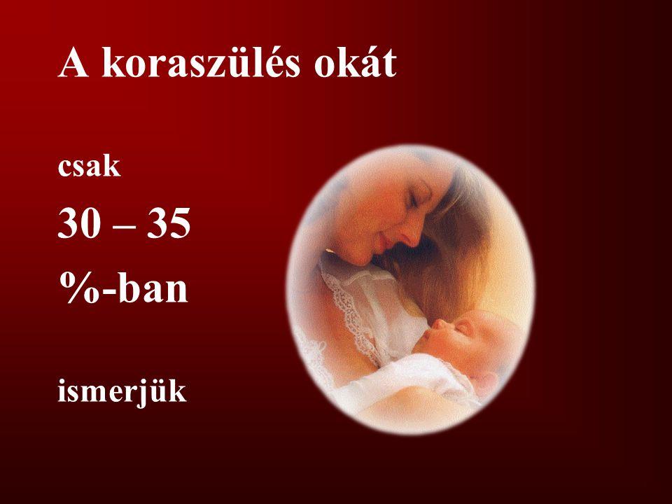 A koraszülés okát csak 30 – 35 %-ban ismerjük