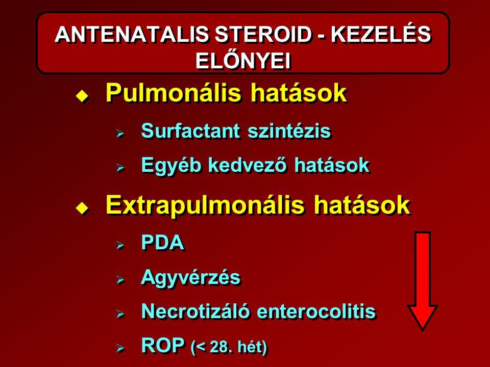 ANTENATALIS STEROID - KEZELÉS ELŐNYEI   Pulmonális hatások   Surfactant szintézis   Egyéb kedvező hatások   Extrapulmonális hatások   PDA 