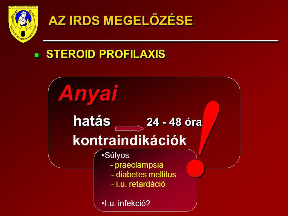 AZ IRDS MEGELŐZÉSE STEROID PROFILAXIS Anyai hatás 24 - 48 óra STEROID PROFILAXIS Anyai hatás 24 - 48 óra kontraindikációk Súlyos - praeclampsia - diab