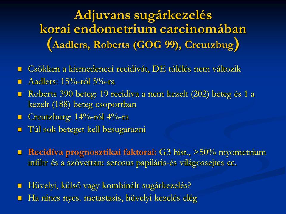Adjuvans sugárkezelés korai endometrium carcinomában ( Aadlers, Roberts (GOG 99), Creutzbug ) Csökken a kismedencei recidivát, DE túlélés nem változik