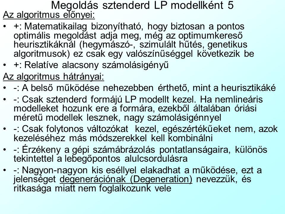 Megoldás sztenderd LP modellként 5 Az algoritmus előnyei: +: Matematikailag bizonyítható, hogy biztosan a pontos optimális megoldást adja meg, még az