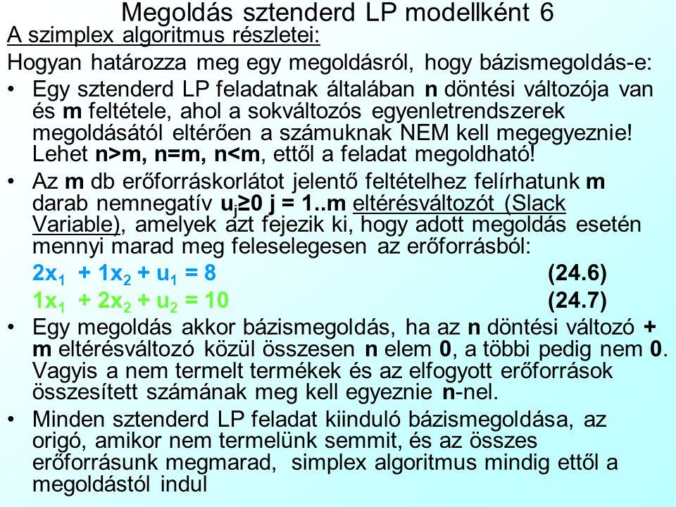 Megoldás sztenderd LP modellként 6 A szimplex algoritmus részletei: Hogyan határozza meg egy megoldásról, hogy bázismegoldás-e: Egy sztenderd LP felad