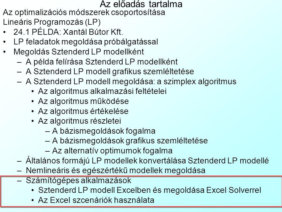Az előadás tartalma Az optimalizációs módszerek csoportosítása Lineáris Programozás (LP) 24.1 PÉLDA: Xantál Bútor Kft. LP feladatok megoldása próbálga
