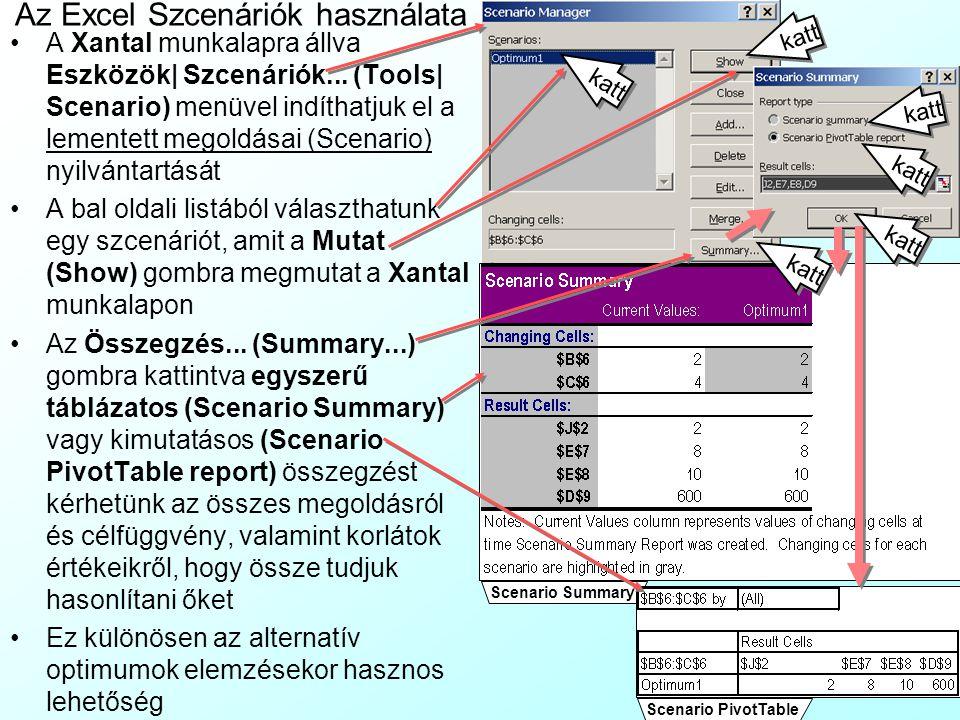Az Excel Szcenáriók használata A Xantal munkalapra állva Eszközök| Szcenáriók... (Tools| Scenario) menüvel indíthatjuk el a lementett megoldásai (Scen