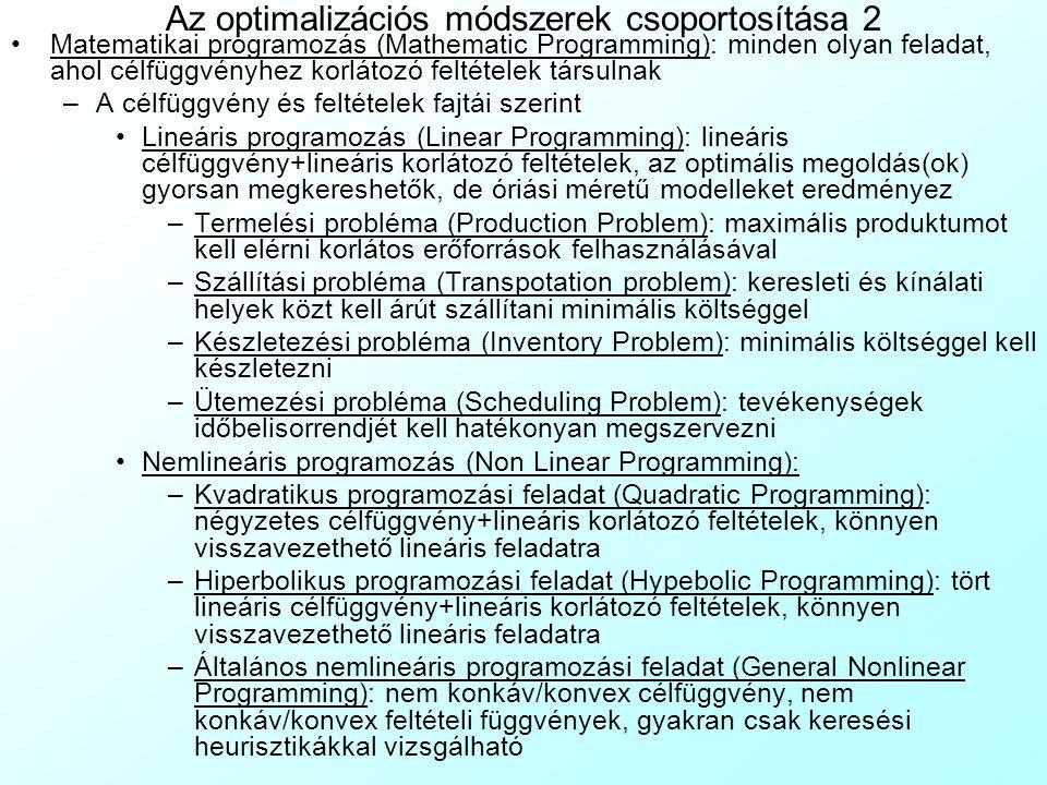 Az optimalizációs módszerek csoportosítása 2 Matematikai programozás (Mathematic Programming): minden olyan feladat, ahol célfüggvényhez korlátozó fel