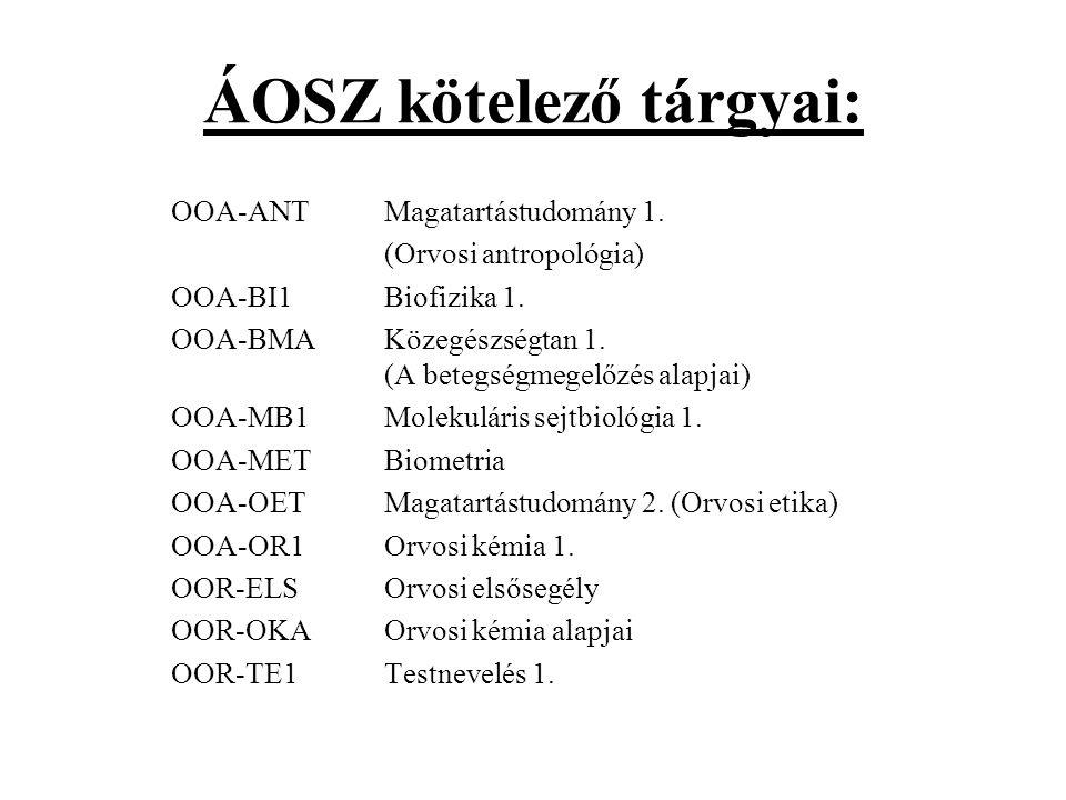 ÁOSZ kötelező tárgyai: OOA-ANT Magatartástudomány 1.