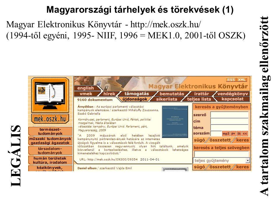 Magyarországi tárhelyek és törekvések (1) Magyar Elektronikus Könyvtár - http://mek.oszk.hu/ (1994-től egyéni, 1995- NIIF, 1996 = MEK1.0, 2001-től OSZ