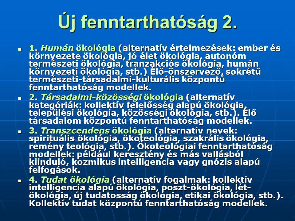 Új fenntarthatóság 2. 1. Humán ökológia (alternatív értelmezések: ember és környezete ökológia, jó élet ökológia, autonóm természeti ökológia, tranzak