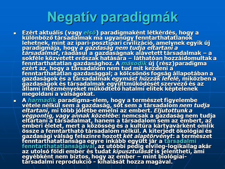 Negatív paradigmák Ezért aktuális (vagy első) paradigmaként létkérdés, hogy a különböző társadalmak ma ugyanúgy fenntarthatatlanok lehetnek, mint az i