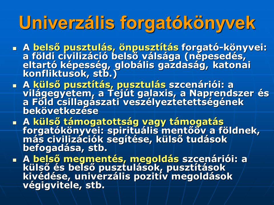 Univerzális forgatókönyvek A belső pusztulás, önpusztítás forgató-könyvei: a földi civilizáció belső válsága (népesedés, eltartó képesség, globális ga