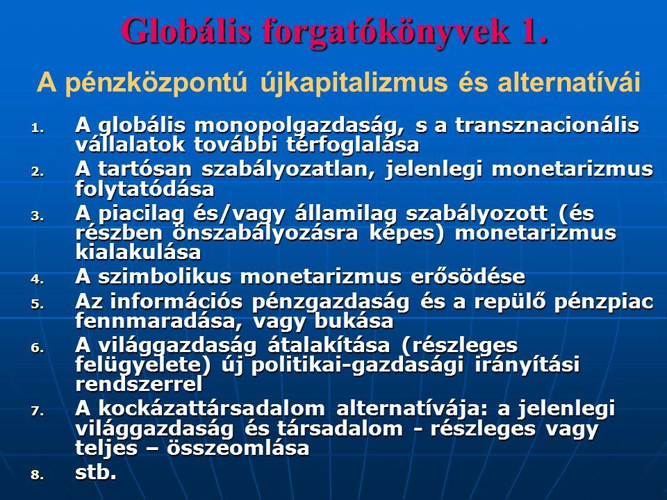 Globális forgatókönyvek 1. Globális forgatókönyvek 1. A pénzközpontú újkapitalizmus és alternatívái 1. A globális monopolgazdaság, s a transznacionáli