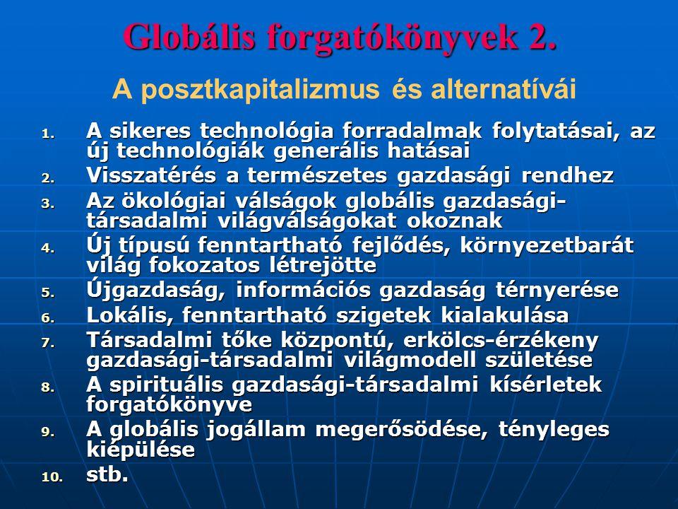 Globális forgatókönyvek 2. Globális forgatókönyvek 2. A posztkapitalizmus és alternatívái 1. A sikeres technológia forradalmak folytatásai, az új tech