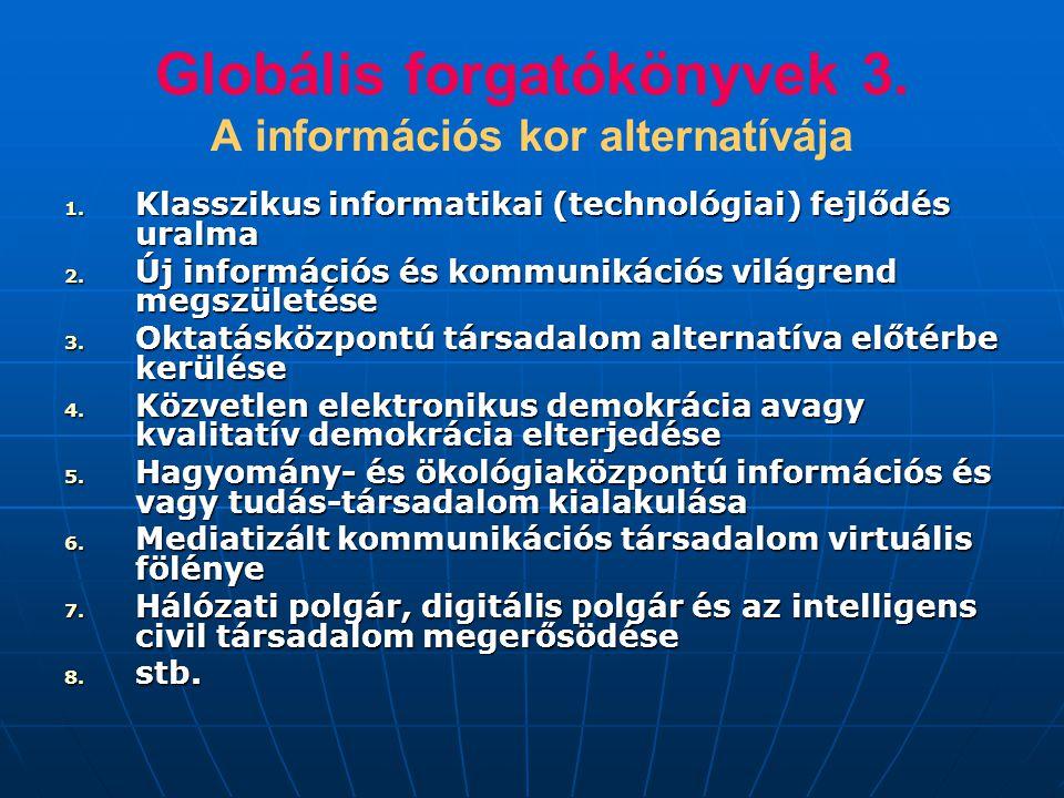 Globális forgatókönyvek 3. A információs kor alternatívája 1. Klasszikus informatikai (technológiai) fejlődés uralma 2. Új információs és kommunikáció