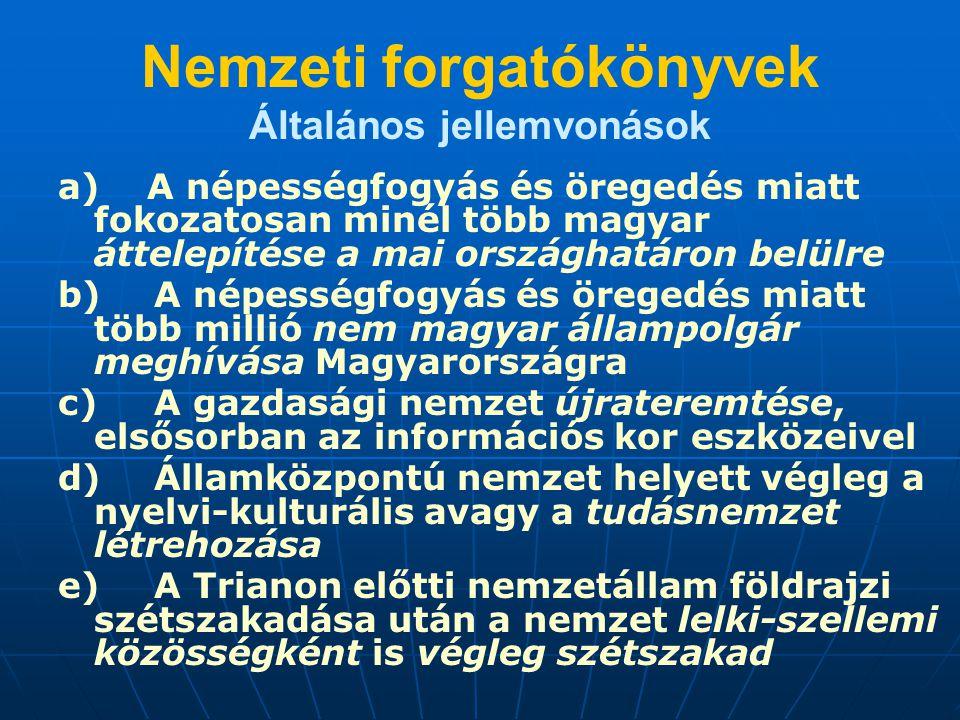 Nemzeti forgatókönyvek Általános jellemvonások a) A népességfogyás és öregedés miatt fokozatosan minél több magyar áttelepítése a mai országhatáron be