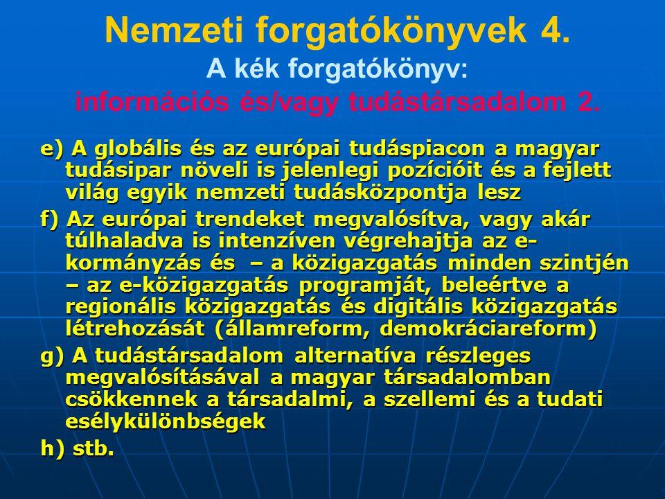 Nemzeti forgatókönyvek 4. A kék forgatókönyv: információs és/vagy tudástársadalom 2. e) A globális és az európai tudáspiacon a magyar tudásipar növeli