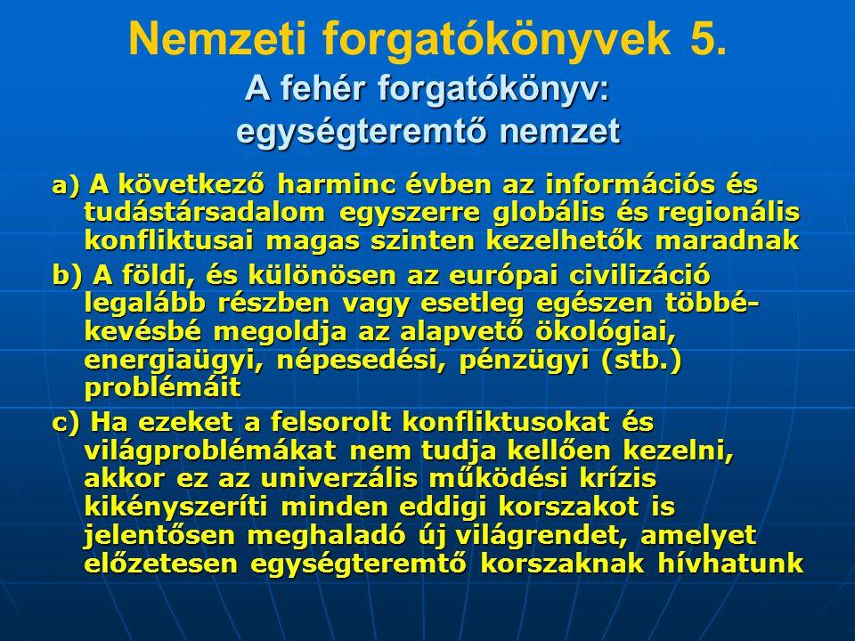A fehér forgatókönyv: egységteremtő nemzet Nemzeti forgatókönyvek 5. A fehér forgatókönyv: egységteremtő nemzet a) A következő harminc évben az inform