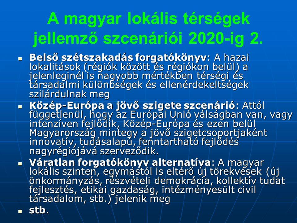 A magyar lokális térségek jellemző szcenáriói 2020-ig 2. Belső szétszakadás forgatókönyv: A hazai lokalitások (régiók között és régiókon belül) a jele