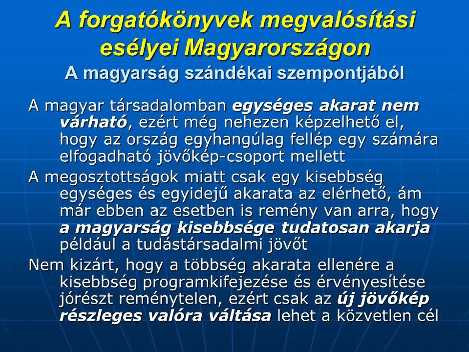 A forgatókönyvek megvalósítási esélyei Magyarországon A magyarság szándékai szempontjából A magyar társadalomban egységes akarat nem várható, ezért mé
