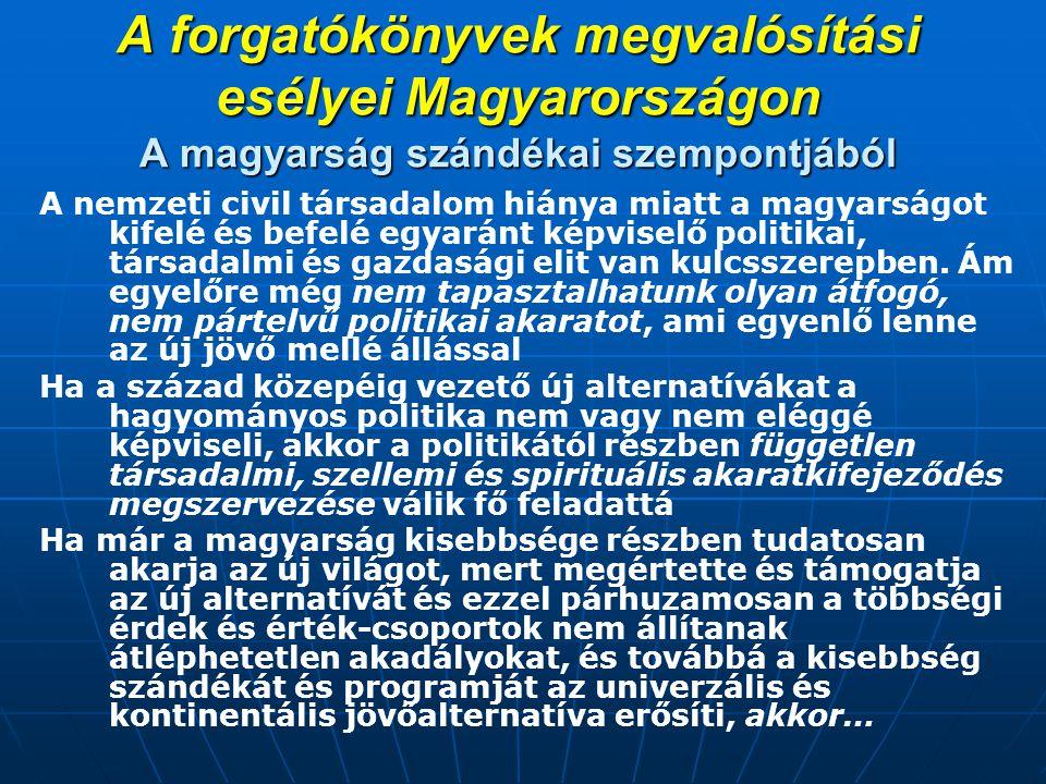 A forgatókönyvek megvalósítási esélyei Magyarországon A magyarság szándékai szempontjából A nemzeti civil társadalom hiánya miatt a magyarságot kifelé