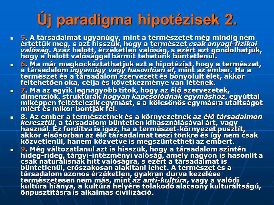 Új paradigma hipotézisek 2. 5. A társadalmat ugyanúgy, mint a természetet még mindig nem értettük meg, s azt hisszük, hogy a természet csak anyagi-fiz