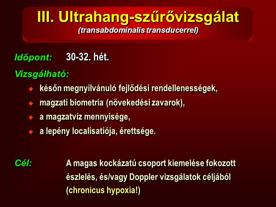 III. Ultrahang-szűrővizsgálat (transabdominalis transducerrel) Időpont: 30-32. hét. Vizsgálható: Időpont: 30-32. hét. Vizsgálható:  későn megnyilvánu