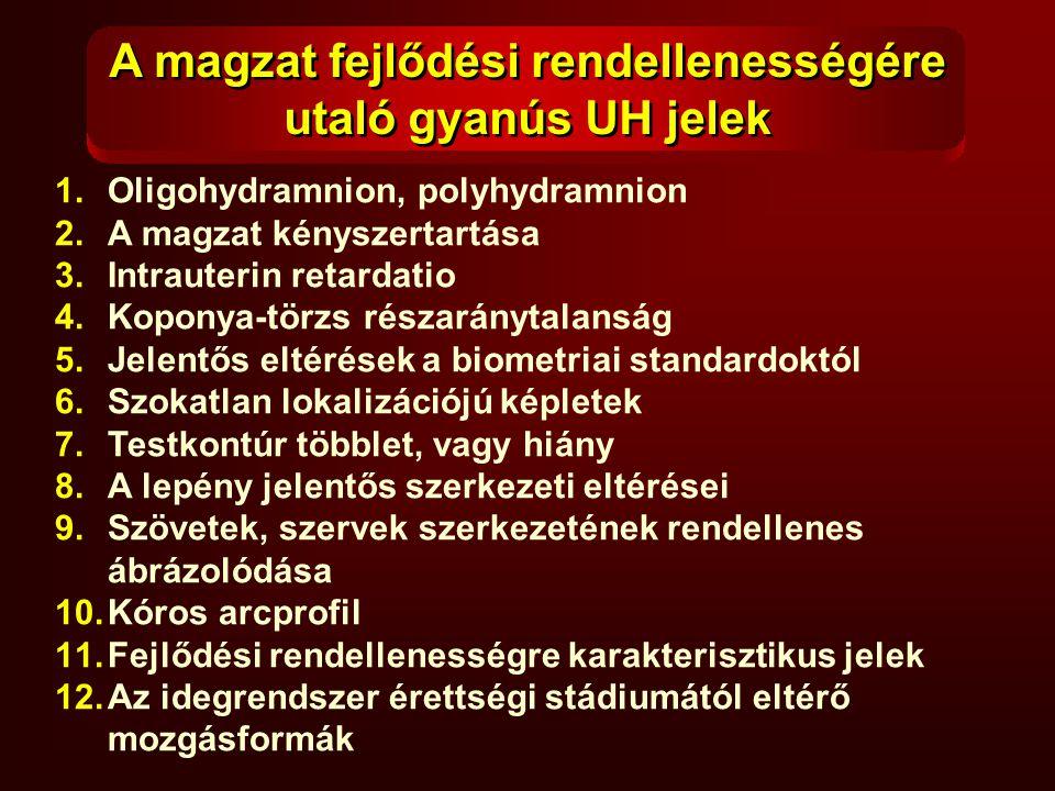 1.Oligohydramnion, polyhydramnion 2.A magzat kényszertartása 3.Intrauterin retardatio 4.Koponya-törzs részaránytalanság 5.Jelentős eltérések a biometr