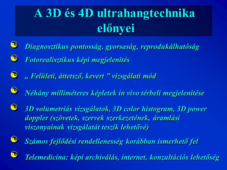 A 3D és 4D ultrahangtechnika előnyei Diagnosztikus pontosság, gyorsaság, reprodukálhatóság Néhány milliméteres képletek in vivo térbeli megjelenítése