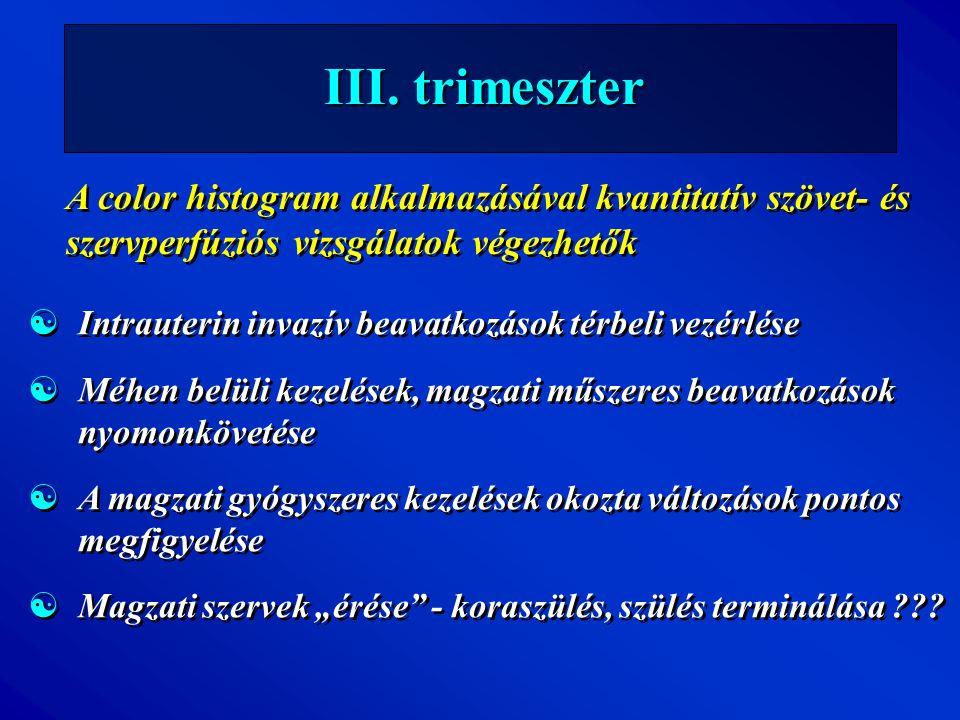 III. trimeszter A color histogram alkalmazásával kvantitatív szövet- és szervperfúziós vizsgálatok végezhetők [Intrauterin invazív beavatkozások térbe