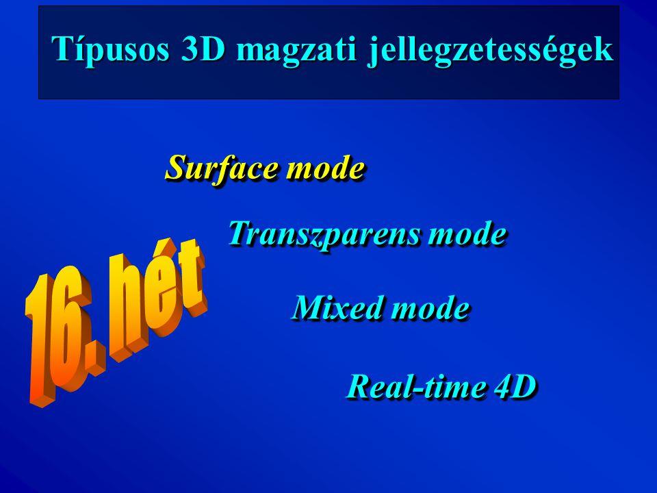 Típusos 3D magzati jellegzetességek Surface mode Transzparens mode Mixed mode Real-time 4D Surface mode