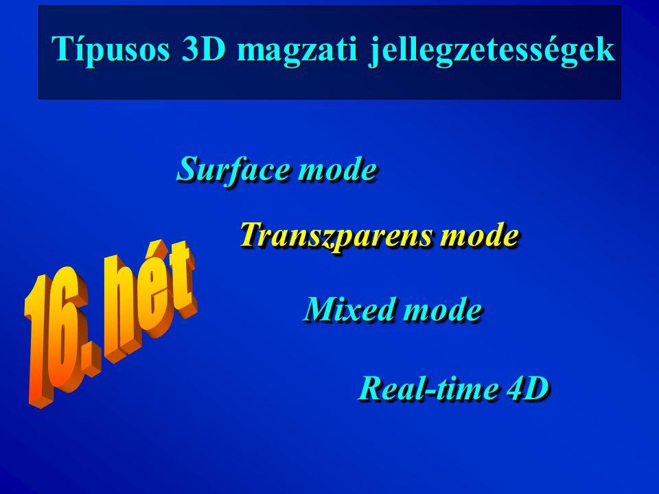 Típusos 3D magzati jellegzetességek Surface mode Transzparens mode Mixed mode Real-time 4D Transzparens mode