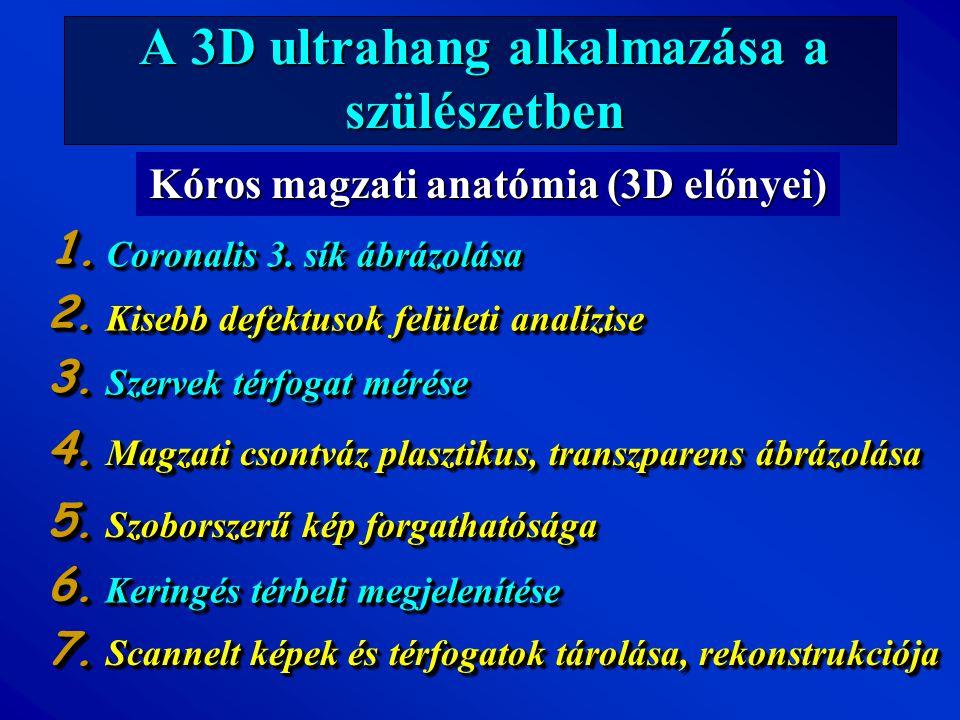 A 3D ultrahang alkalmazása a szülészetben Kóros magzati anatómia (3D előnyei) Coronalis 3. sík ábrázolása Kisebb defektusok felületi analízise Szervek