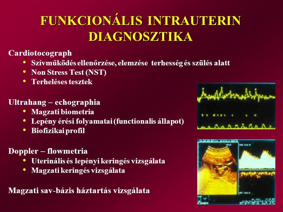 FUNKCIONÁLIS INTRAUTERIN DIAGNOSZTIKA Cardiotocograph Szívműködés ellenőrzése, elemzése terhesség és szülés alatt Non Stress Test (NST) Terheléses tes