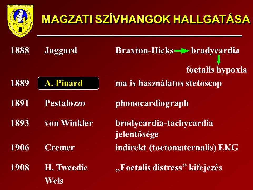 MAGZATI SZÍVHANGOK HALLGATÁSA 1888JaggardBraxton-Hicks bradycardia foetalis hypoxia 1889A. Pinardma is használatos stetoscop 1891Pestalozzophonocardio