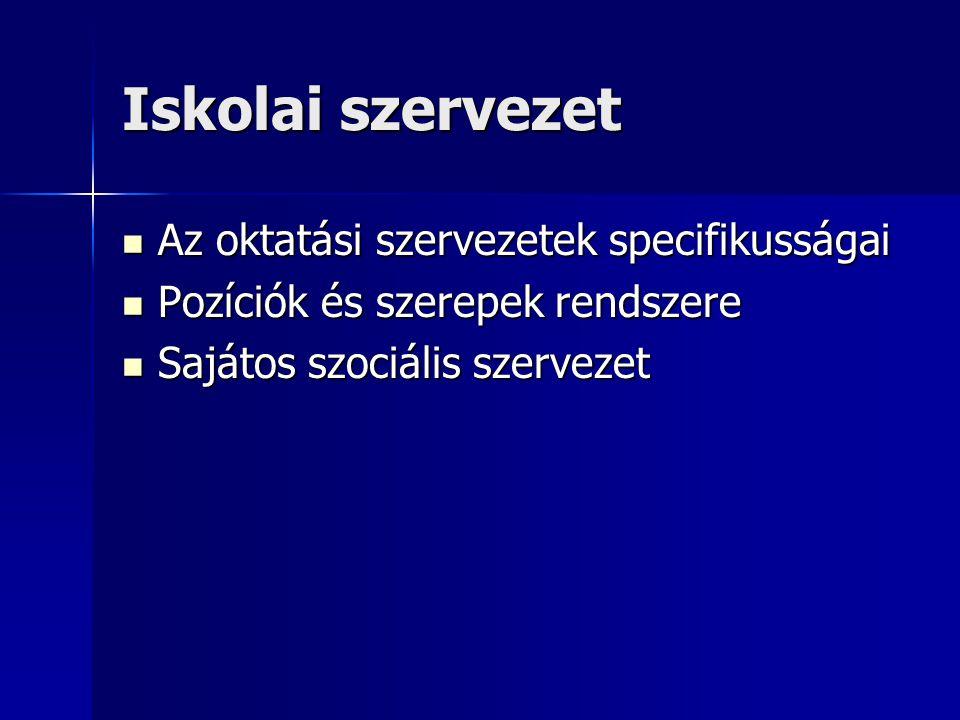Iskolai szervezet Az oktatási szervezetek specifikusságai Az oktatási szervezetek specifikusságai Pozíciók és szerepek rendszere Pozíciók és szerepek rendszere Sajátos szociális szervezet Sajátos szociális szervezet